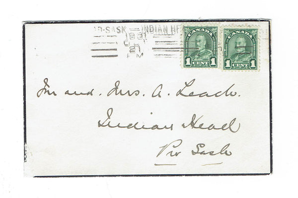 Indian Head, SK. Mourning Cover, 1931. Roller Cancel. Local Use. Canada