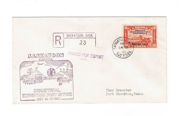 Saskatoon, SK. Registered Cover #203. 1950. Industrial Exhibition Post Office. Canada