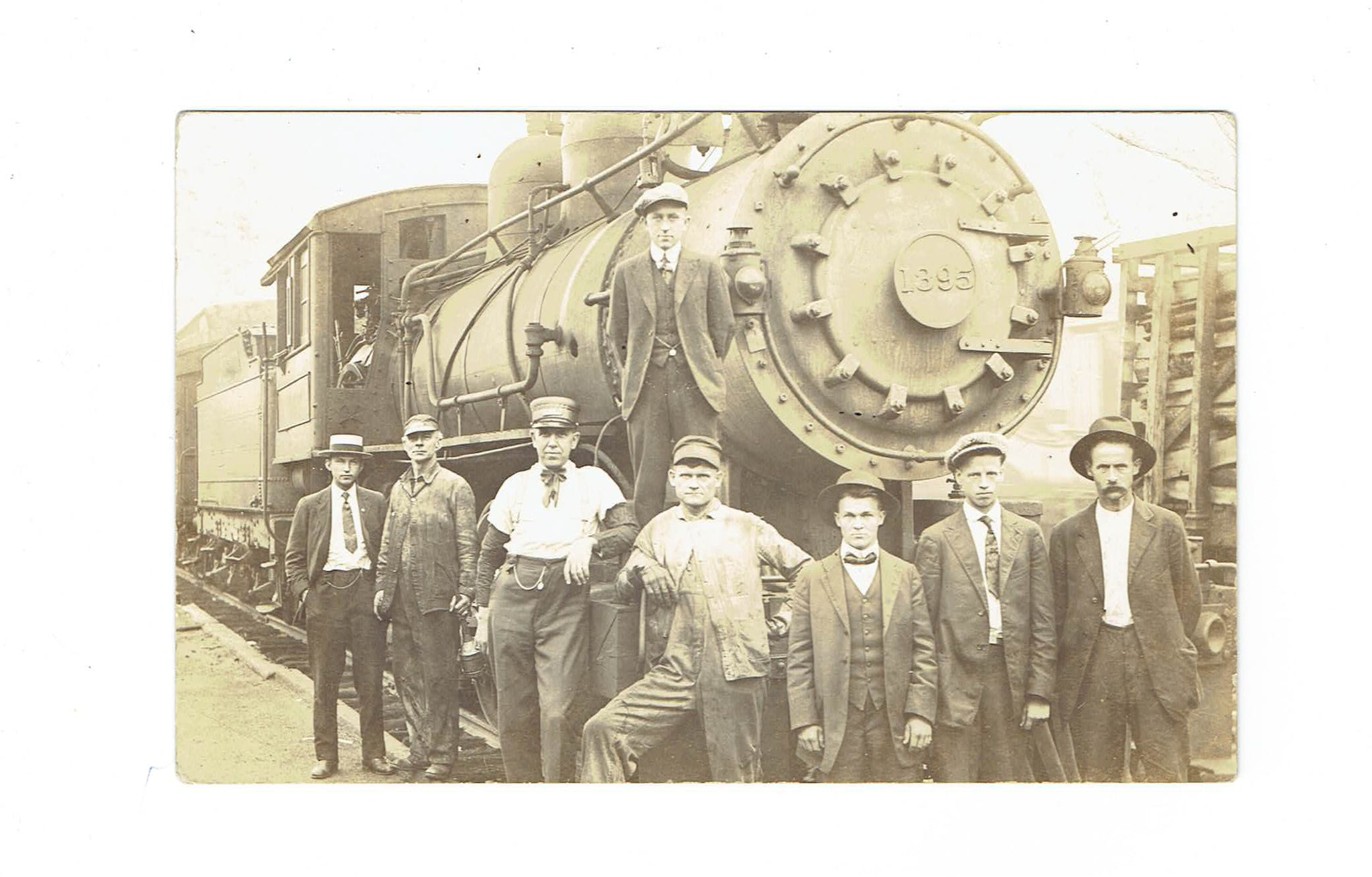 Railway Train Engine And Crew. Postcard