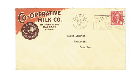 Calgary, AB. 1939. Multicoloured Dairy Advertising Cover. Co-Operative Milk Co. Canada