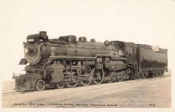 CPR Passenger Engine Monster 2800 Class. RPPC Postcard. Built in Montreal, Canada