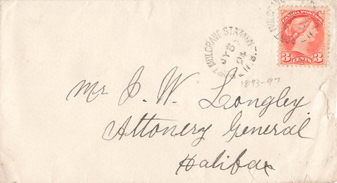 Port Mulgrave Station, NS. 1894 Split Ring Broken Circle (1893-1897) On Small Queen. Canada Cover