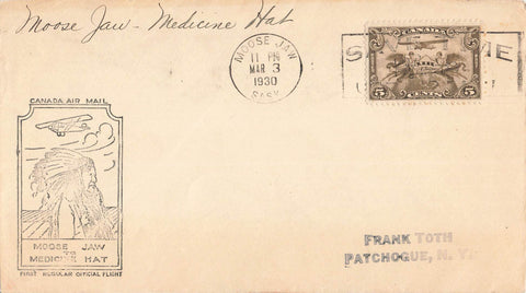 First Flight Air Mail Cover. Moose Jaw, SK To Medicine Hat, AB. Canada