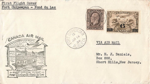First Flight Air Mail Cover. 1934. Fort Chipewyan, AB To Fond du Lac, SK. Medallion Issue. Canada