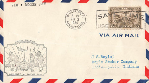 First Flight Air Mail Cover. 1930. Winnipeg, MB To Moose Jaw, SK. Canada