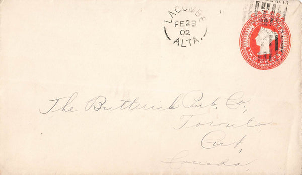 Lacombe, AB. 1902 N.W.T. (Territorial Period) On Cover To Toronto, ON. B/S. Canada