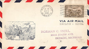 First Flight Air Mail Cover. 1930. Edmonton, AB To Regina, SK. Canada