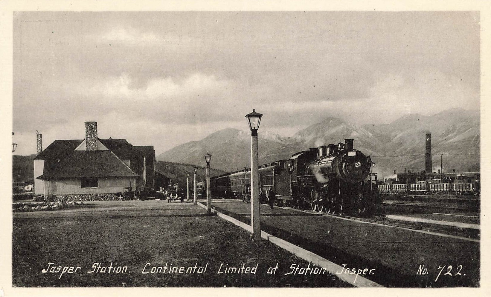 Jasper, AB. Postcard. Continental Limited Locomotive At Jasper Railway Station. Canada