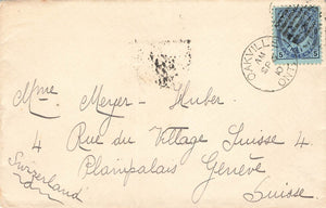 Oakville, ON. 1910 Cover. #91. To Switzerland. Single Franking. Canada