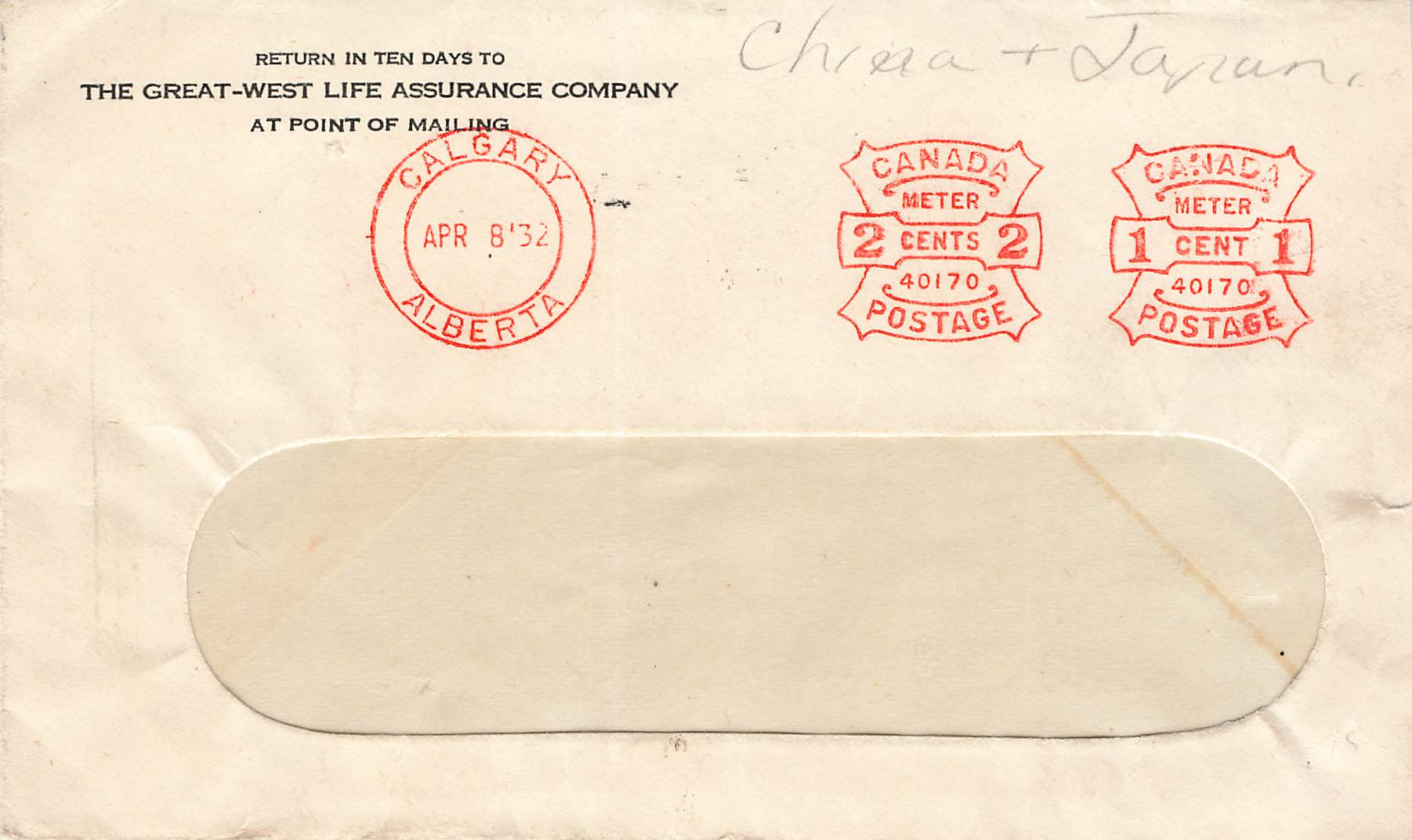 "Blades, AB. 1932 Cover. Great West Life Assurance Co. RF ""D"". (1923-1934). Canada"