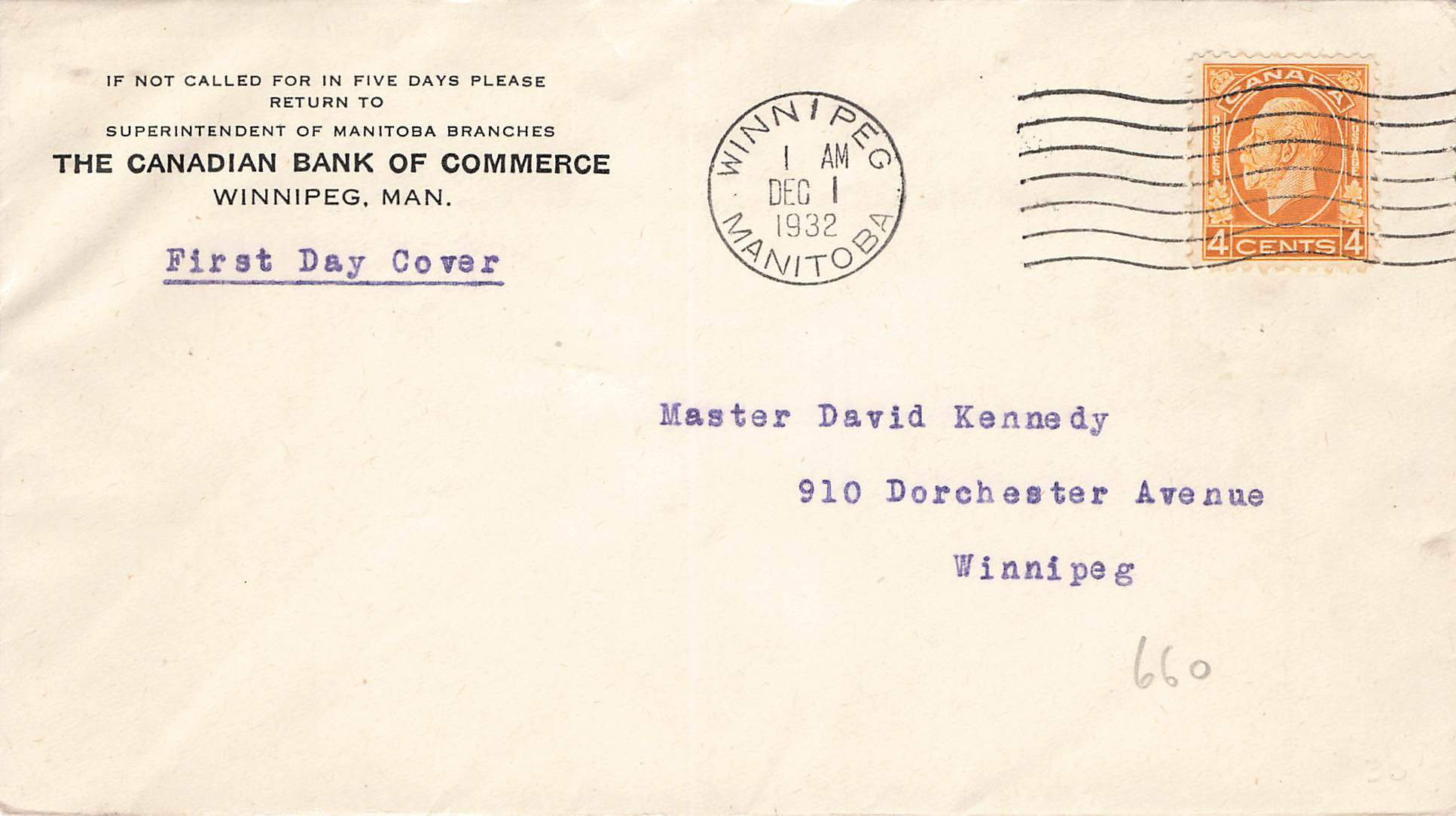 Winnipeg, MB. First Day Cover. 1952. #198. Medallion Issue. Local Use. Canada
