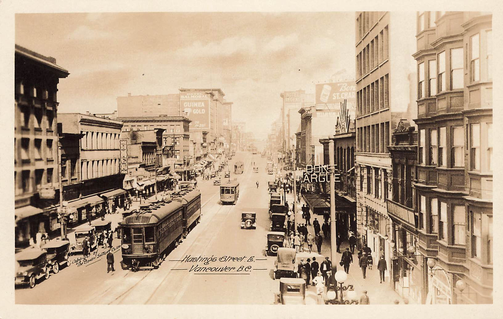 Vancouver, BC. RPPC Postcard. Hastings Street With Trolley. Gowen and Sutton. Canada