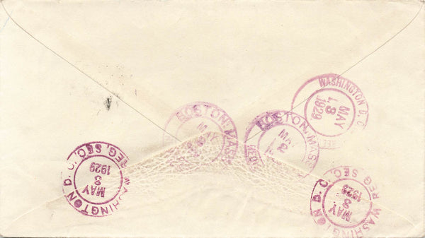 St. John's, NL. 1929 Registered Cover. #155. Single Franking To USA. B/S. Canada