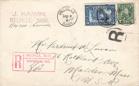 SK, Melville. 1931 Registered Cover. To USA. #164 Arch. #145 Confederation. Canada