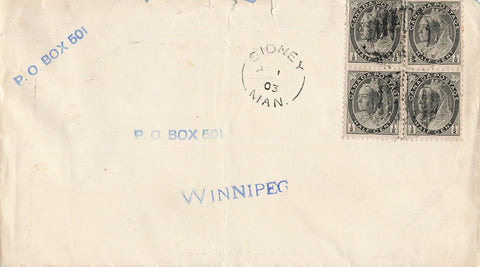 Sidney, MB. 1903 Split Ring On Cover. (1882-Open). To Winnipeg. Canada