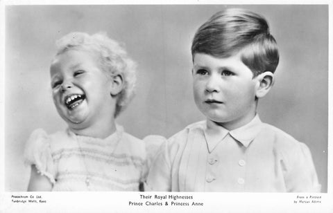 The Royal Highnesses Prince Charles And Princess Anne. Postcard