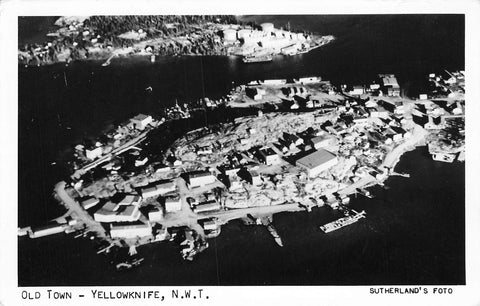 Yellowknife, NWT. Aerial View. Old Town. Sutherland Photo. Canada Postcard