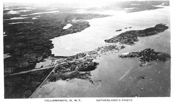 Yellowknife, NWT. Aerial View. Sutherland Photo. Canada Postcard