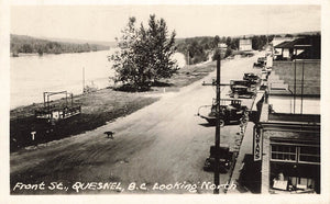 Quesnel, BC. 1930's. Front St. Looking North. Gowen. RPPC Postcard. Canada