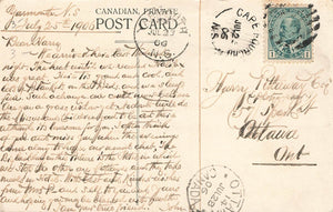 Cape Fourchu, N.S. 1906 Split Ring Postal History on Postcard. (1900-1919). Canada