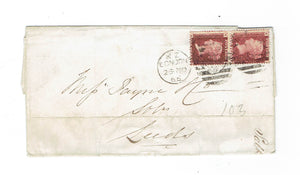 Penny Red Pair On 1866 Cover. London, England To Leeds. B/S. Plate No. Not Identified