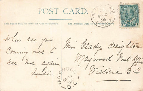 "Maywood, BC. 1906 Split Ring On Postcard. (1894-1918). RF""D"". Canada"