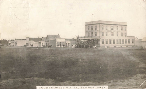Elfros, SK. Main Street 1900's. Golden West Hotel. Stedman Photo. Canada RPPC Postcard