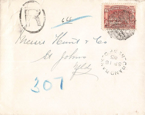 Grand Bank, NL. 1903 Single Franking Registered Cover. To St. John's. #66 Logging. Canada