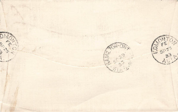 Edmonton, AB. #194 (Ottawa Conference) 1933 (13 Cent) Registered Cover. To Ontario, Canada.