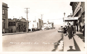 Prince Rupert, BC. 1940's Street Scene With Storefronts. Canada RPPC Postcard