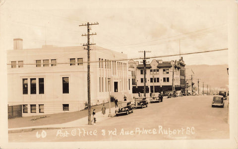 Prince Rupert, BC. 1930's Third Ave And Post Office. Canada RPPC Postcard