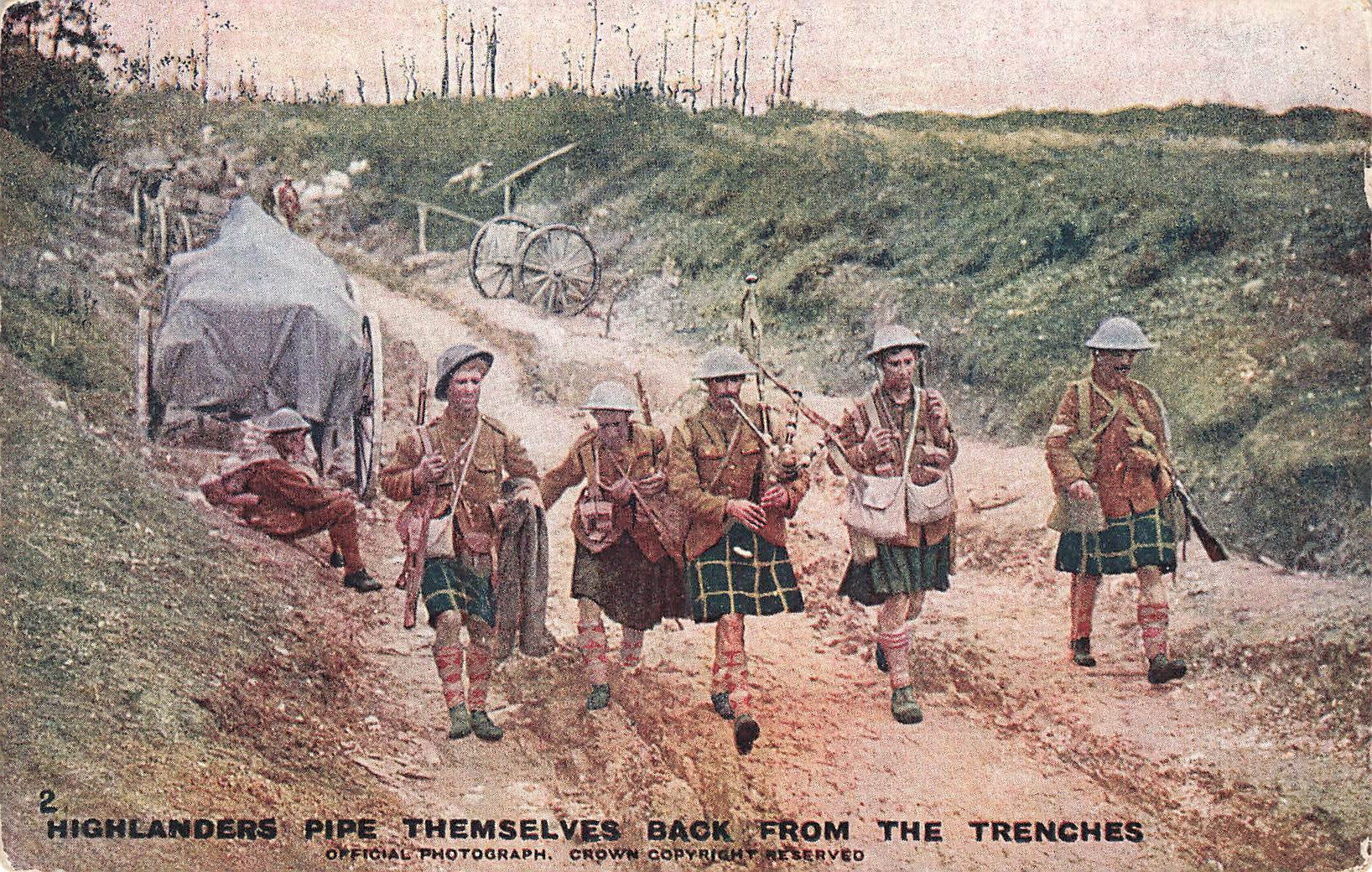 Military Postcard. Highlanders Pipe Themselves Back From The Trenches.