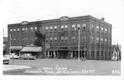 Cloquet, MN. 1950's. Hotel Salem And Cafe. USA RPPC Postcard