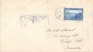 FDC #242. Ottawa, ON. 1938. Registered to Guelph. B/S. Canada