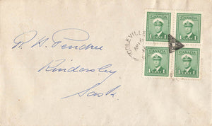 Coleville, SK. 1946 Split Ring & Fancy Cancel (1912 To Open). Canada Cover