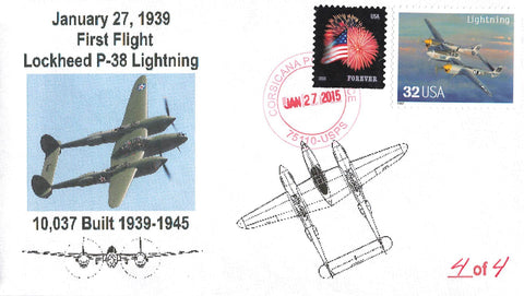 Corsicana, TX. 2015 USA  Military Cover. Commemorating 1939 First Flight Lockheed P-38
