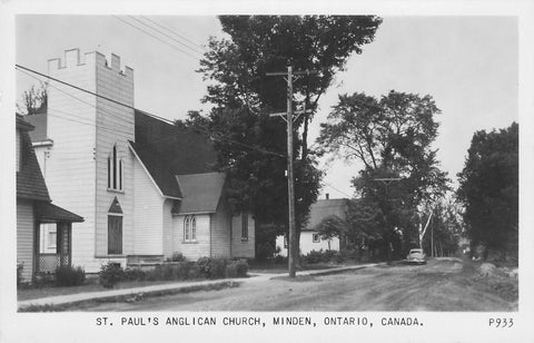 Minden, ON. St. Paul's Anglican Church. RPPC Postcard. Canada