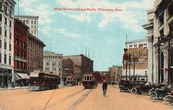 Winnipeg, MB. Main Street Looking North. Postcard. Canada