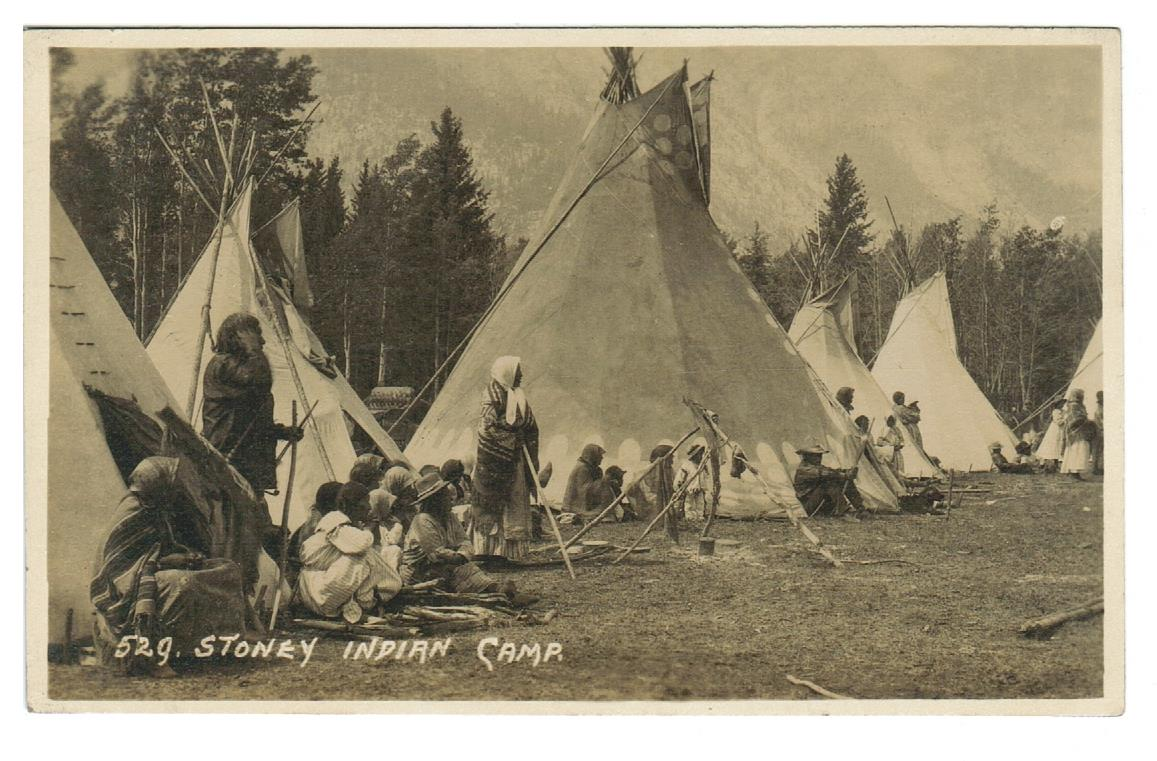 BYRON HARMON #529 RPPC TEEPEES STONEY INDIAN CAMP CANADA