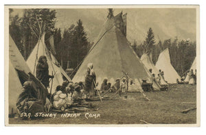 "BYRON HARMON. #529. RPPC. ""STONEY INDIAN CAMP"".  Teepees."