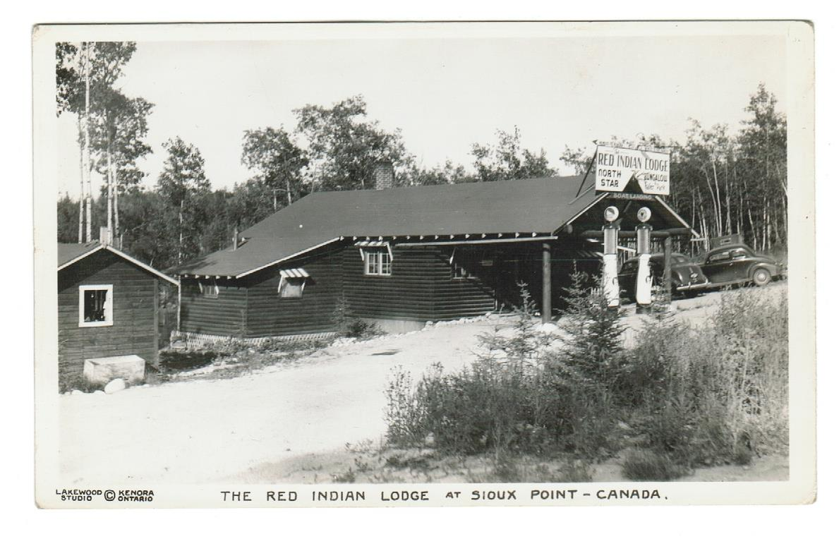 Ontario, Sioux Point. RPPC. Early Gas Pumps. Red Indian Lodge. CANADA POSTCARD.