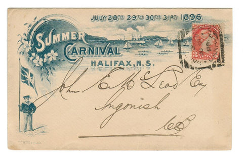 N.S.  HALIFAX 1896 Summer Carnival Squared Circle Cancel Canada B/S.