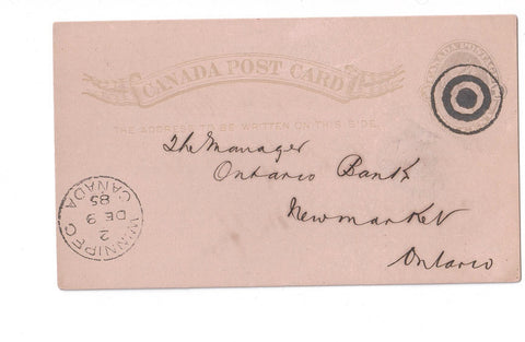 WINNIPEG, MB. 1885 BULLS EYE TARGET CANCEL ON POSTAL STATIONERY