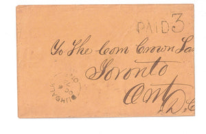 "STAMPLESS COVER 1873 DUNDALK, (1856-1874) PAID ""5"" TO TORONTO ONTARIIO CANADA"