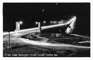 Seattle, Wa. Night View Lake Washington Pontoon Bridge. USA RPPC Postcard