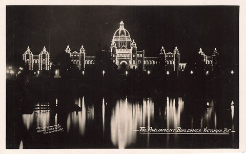Victoria, BC. Parliament Buildings At Night. Postcard. Gowen Sutton. Canada