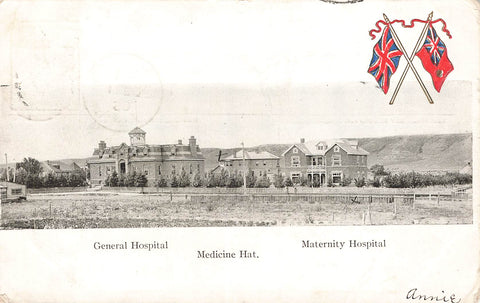 Medicine Hat, AB. 1905. Patriotic Postcard. General And Maternity Hospitals. Canada