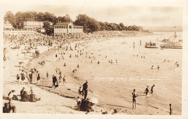Vancouver, BC. RPPC Postcard. 1928. Swimmers In English Bay. Gowen Sutton. Canada