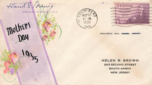 Hand Painted Mothers Day Cover. Philatelic. 1935. Indiana To New Jersey. USA