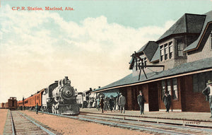 Macleod, AB. CPR Station With Locomotive. 1900's. Canada Postcard